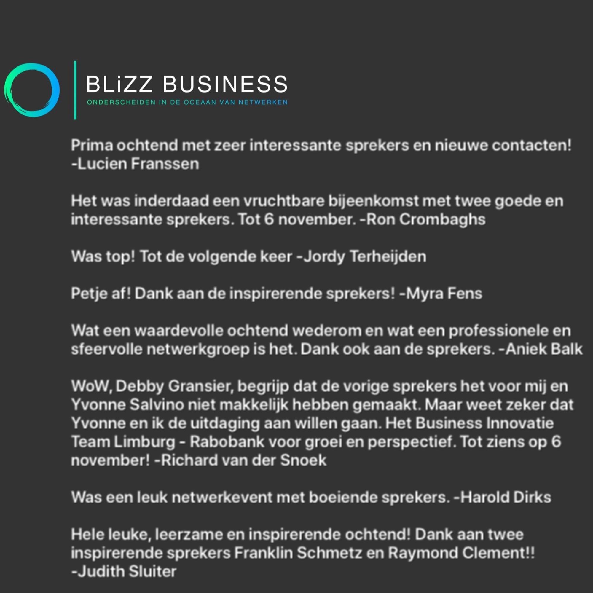 recensie feedback blizz business gasten leden netwerken